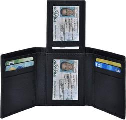 Trifold Wallets for Men - RFID-Blocking Genuine Leather Wall