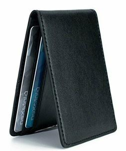 Ultra Slim Mini Size Wallet ID Window Card Case with RFID Bl