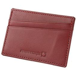 Alpine Swiss Unisex Genuine Leather Compact Card Case Wallet