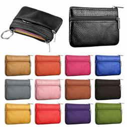 Unisex Leather Coin Case ID Credit Card Holder Zipper Wallet