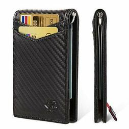 Men's RFID Blocking Bifold with Money Clip Smart Design Slim