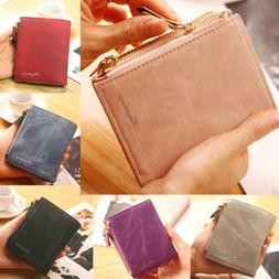 US Women's Short Small Wallet Lady Leather Folding Coin Card