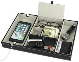 valet tray nightstand charging station