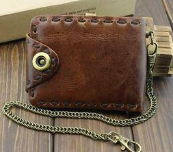 Vintage Biker Leather Bifold Snap Wallet With Chain for Me