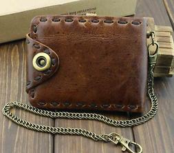 Vintage Biker Leather Bifold Snap Wallet With Chain for Mens