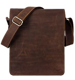 "Kattee Vintage Cow Leather Flapover Messenger Bag Fit 10"" La"