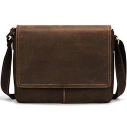 "Kattee Vintage Leather Business Messenger Bag Fits 15"" Lapto"