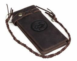 Vintage Men Leather Clutch Long Wallet With Chain Cowboy Pur