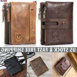 Vintage Mens Wallets Genuine Leather RFID Purse with Double