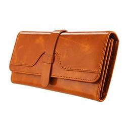 Kattee Vintage Women's RFID Blocking Genuine Leather Trifold