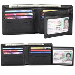 Wallet for Men Genuine Leather Trifold Wallet with 2 ID Wind