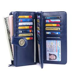 Wallet for Women Large Capacity RFID Blocking Real Leather P