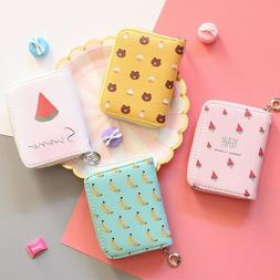 Wallet Girls New Print Zipper Short Card Purse Money Card Ba