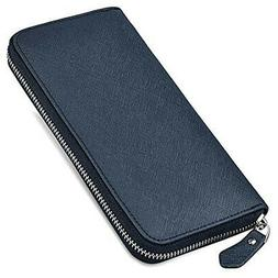 NEWHEY wallet men long wallet leather zipper coin purse luxu