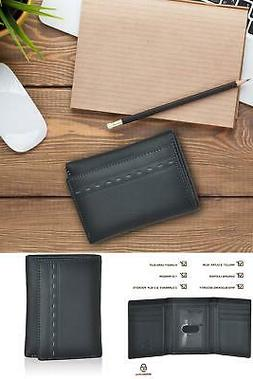 WALLET Men Trifold Real Leather RFID Protected Front Pocket