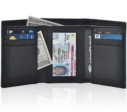 Wallets for Men Genuine Leather - Black Nappa Small Front Po