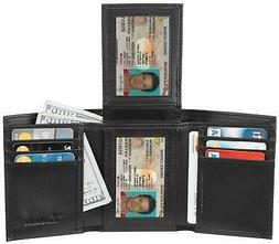 Wallets for Men Leather Trifold  Credit Card Holder with ID