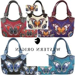 Western Style Butterfly Handbag Concealed Carry Purse Women