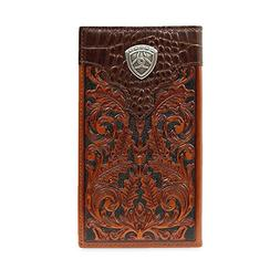 Ariat Western Wallet Men Rodeo Checkbook Faux Gator Print Ta