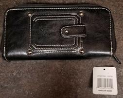Woman's Black Zipper Wallet with Checkbook Entry