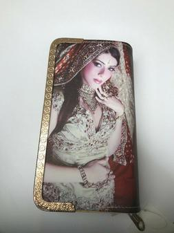 Woman's Double Wallet with Indian/Pakistani Woman Wearing Bu