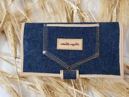 Woman's Wallet, Leather Wallet,Bifold ,ID Wallet,denim,blue