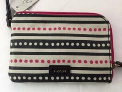 Fossil Woman's Eliza Wristlet-Pink Dots-Zip Around-NWT