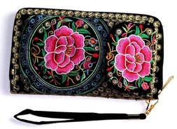 Women Clutch Embroidered Wallet Long Card & cellphone Holder