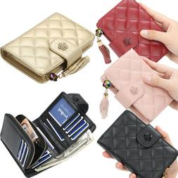 Women Ladies Leather Wallets Small Bifold With Zipper Coin P
