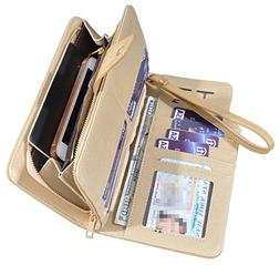 Women Lady Leather Wallet Zipper Purse RFID Credit Card Clut