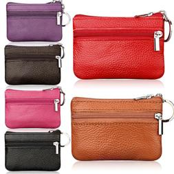 Women Leather Coin Card Key Ring Wallet Pouch Mini Purse Zip