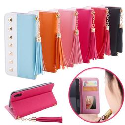 Women Leather Tassel Wallet Card Mirror Stand Case For iPhon