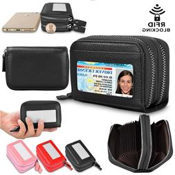 Women Leather Wallet RFID Blocking Credit Card Holder Double