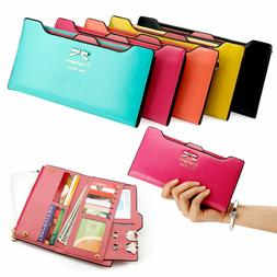 Women Long Leather Thin Wallet Cute Bow Purse Multi ID Credi