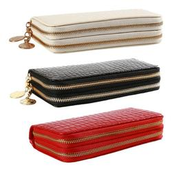 Women PU Leather Wallet Double Zipper Wallet for Phone Coin