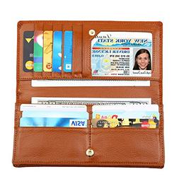 Dante Women RFID Blocking Ultra Slim Real Leather Wallet-Clu