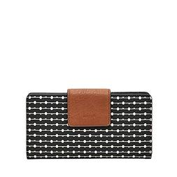 Fossil Women's Emma RFID TAB Wallet, Black Stripe, One Size