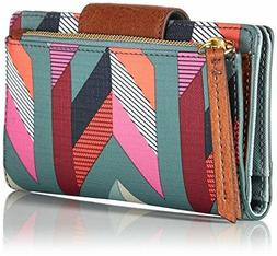 Fossil Women's Emma RFID TAB Wallet, Chevron Blue, One Size
