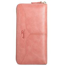 Dante Women's Genuine Leather Zip Around Wallet Clutch Purse