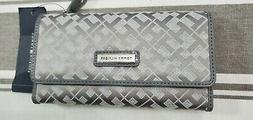 TOMMY HILFIGER Women's Gray Wallet Organizer Clutch with Che