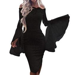Todaies Women's Sexy Lace Flare Sleeve Solid Slash-Neck Lace