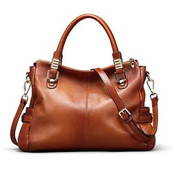 Kattee Women's Urban Style Genuine Leather Tote Satchel Shou