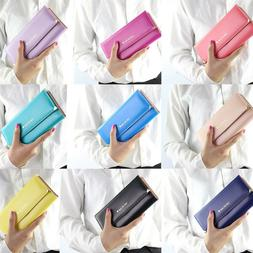 Women's Wallet Leather Long Card Holder Clutch Trifold Purse