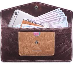 Borgasets Women's Wallet Leather RFID Blocking Ultra-thin En