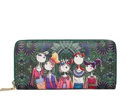women wallet with zipper leather bag printed