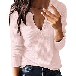 Londony ♥‿♥ Womens Blouse Long Sleeve Deep V-Neck Loos