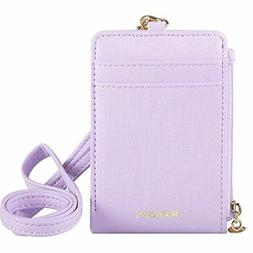 Womens Cute Candy Color Bifold ID Badge Holder with Lanyard