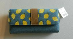 Cato Womens Denim & Lemons Organizer Wallet Clutch Full Size