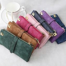 womens ladies suede leather clutch wallet long
