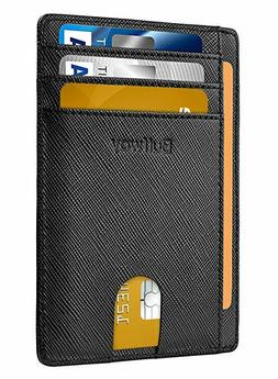 Buffway Womens Mens Wallet Leather Wallet Ultra Slim Front P